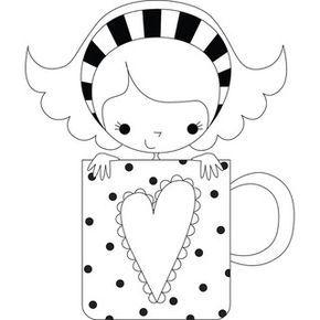 Stamping Bella 'Chloe the Coffee Mug Girl' Rubber Stamp