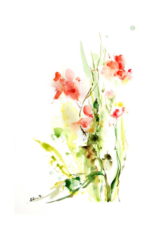 Fine art print of original watercolor abstract flowers by for Watercolor flower images