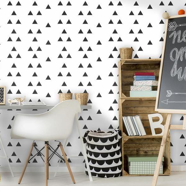 Papel De Parede Triangulo Preto Branco Com Imagens Papeis De