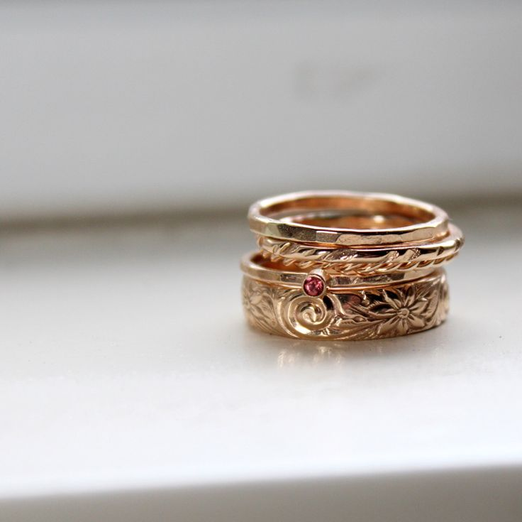 Gold Stacking Rings with Rhodolite Garnet - Birthstone Stacking Rings by tinahdee on Etsy https://www.etsy.com/listing/174772411/gold-stacking-rings-with-rhodolite