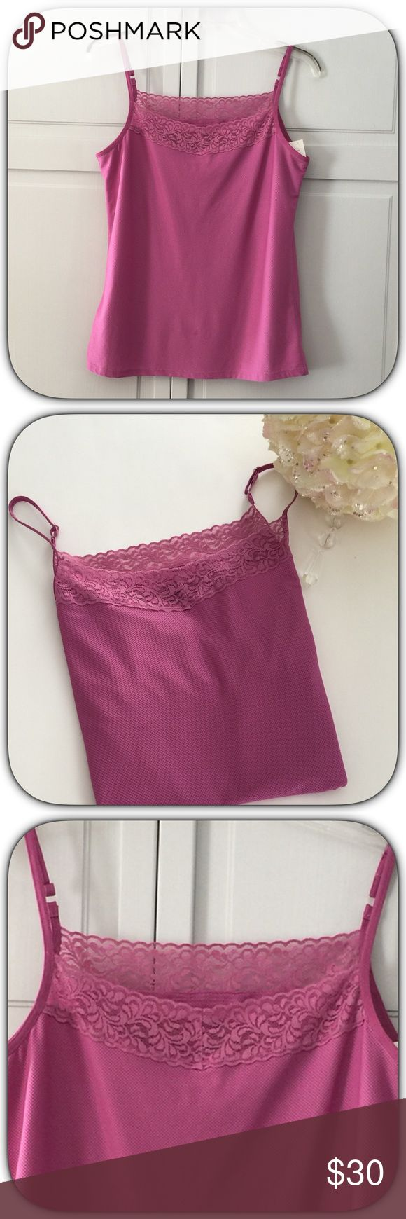 NWT Fabulous Lilac Purple Cami Top This does have a shelf bra inside! Can be layered, worn alone or even as a workout top! The color is gorgeous too! Bust 18 Length 24 Boutique Tops Camisoles
