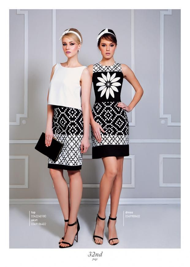 Digital tile printed outfits.