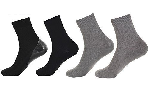 Makhry 2 Pairs Moisturizing Spa Gel Socks for Hard Dry Cracked Skin Recovery Socks Classical Grid Socks For Men Size 611 L BlackGrey -- You can get more details by clicking on the image.