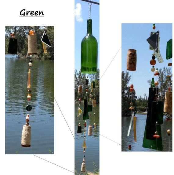 Our Large Wine Chimes are perfect for any wine lover!! They are 100% unique and hand made to order. Each chime is made from a recycled wine bottle that was personally hand cut and sanded to perfection. Choose from 3 Bottle Colors. #wine #winewednesday #winewed #shop #unique #windchimes #etsy #christmas