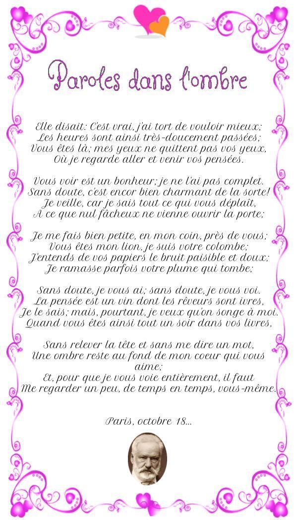 Victor Hugo Poeme D Amour : victor, poeme, amour, Poésie, D'amour:, Paroles, L'ombre, Victor, Hugo,, Poesie, Amour,, Parole
