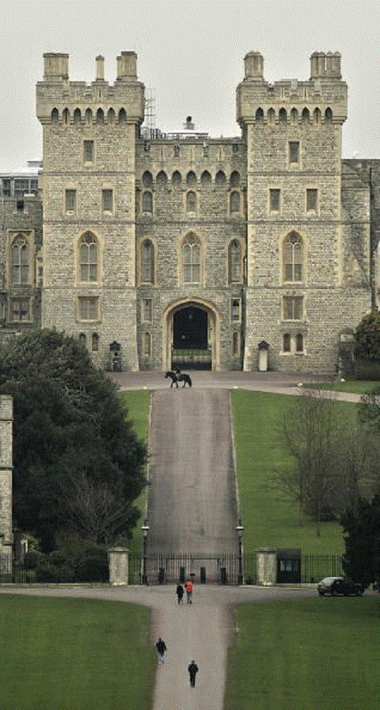 """Windsor Castle, called """"home"""" by HM The Queen (she considers Buckingham Palace """"the office"""", and Sandringham and Balmoral as holiday retreats).  Windsor dates from the Norman conquest."""