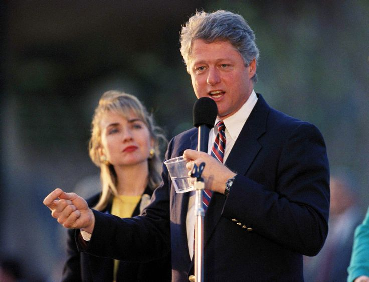 Hillary And Bill Through The Years - Arkansas Gov. and Democratic presidential candidate Bill Clinton and his wife Hillary Rodham Clinton campaign outside the Tampa Convention Center on Monday, March 9, 1992 on the eve of Super Tuesday. (AP Photo/Chris O'Meara)