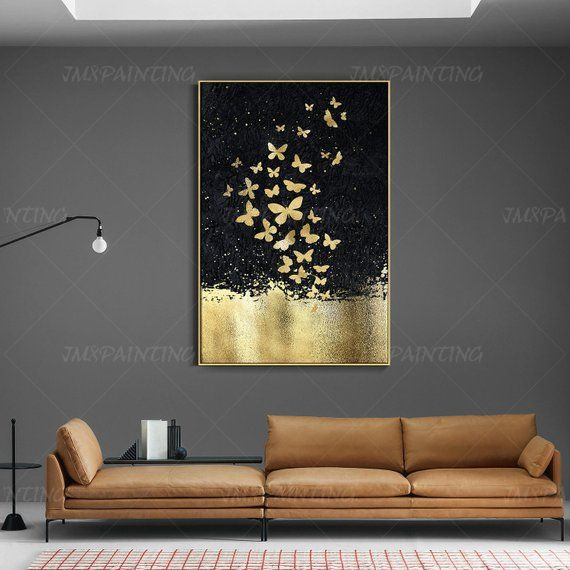 Abstract butterfly GAbstract butterfly GoldLeaf Painting print On Canvas ready to hang framed painting print art Wall A