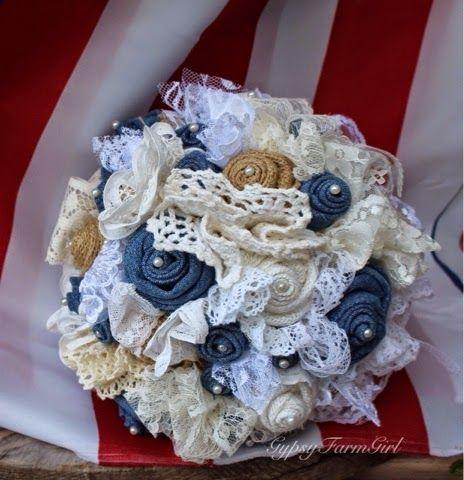 denim and pearl, burlap and lace bridal bouquet - rustic wedding bouquet by GypsyFarmGirl