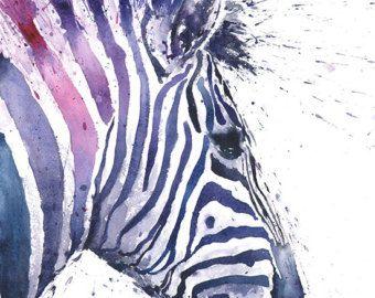 IMPRESIÓN de la acuarela cebra zebra art print por SignedSweet