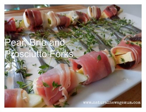 A healthy BBQ for 12  Pear, brie and proscuitto forks