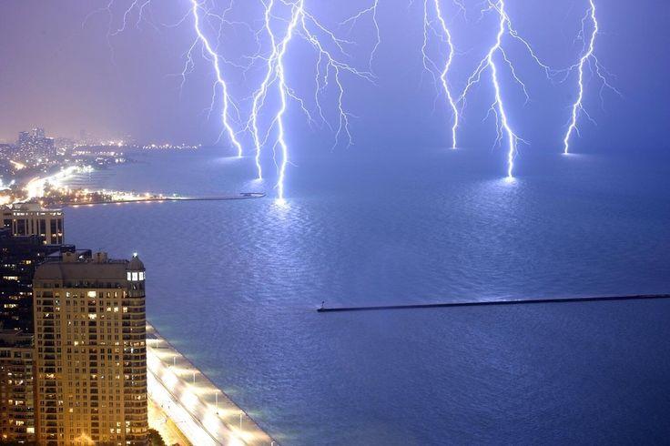 Six lightning strikes captured at once on Lake Michigan.