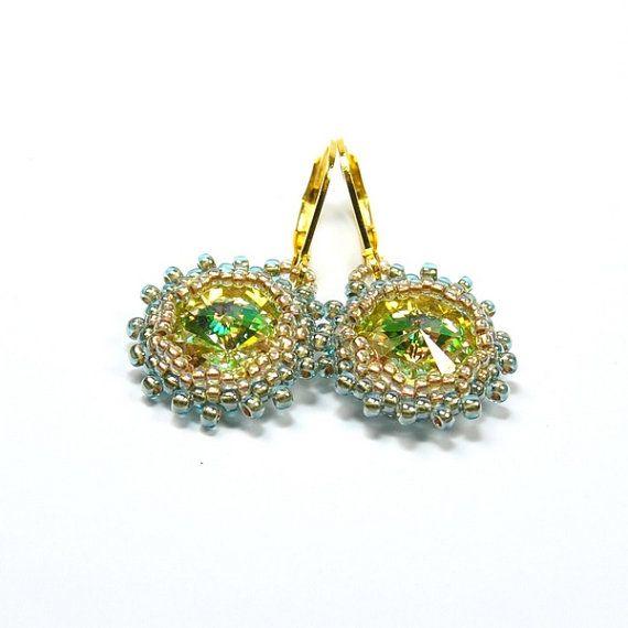 Swarovski Rivoli Earrings. Beaded Rivoli Earrings. by ArtStyleBizu