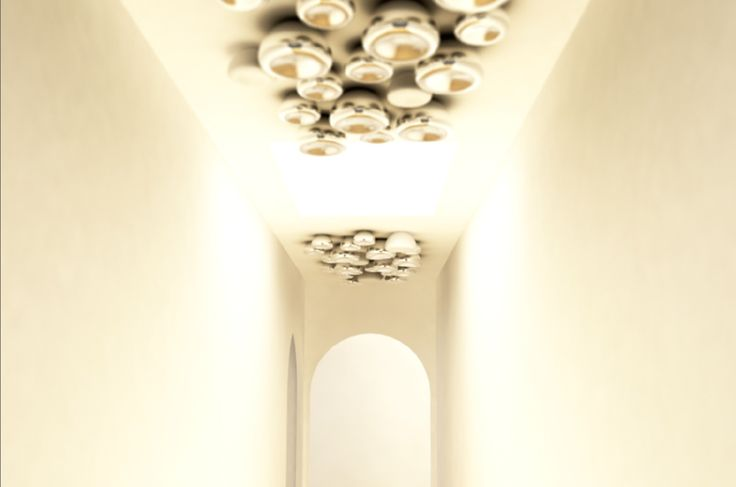 Concept design for a Silver Cell ceiling installation with illuminated components. These images give a good example of computer ended presentation for a project.