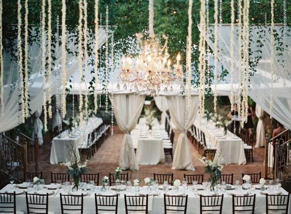 Classic white wedding with Vintage Chandeliers and crisp linens