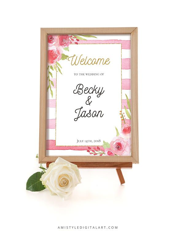 Printable wedding sign - Welcome the wedding of - with watercolor rose design and pink stripes by Amistyle Digital Art on Etsy