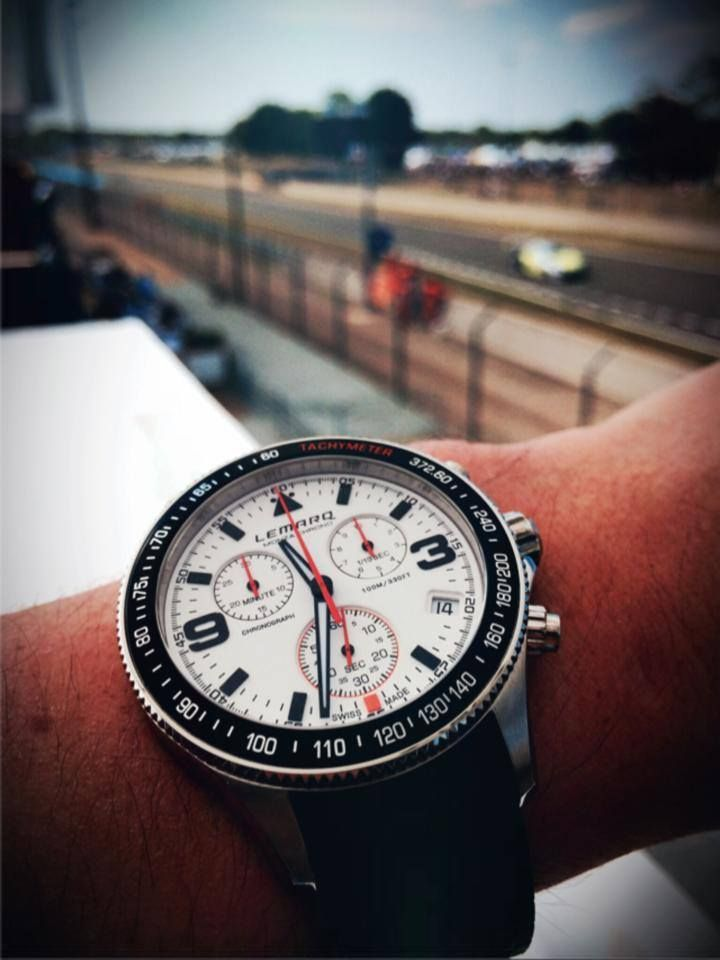 The white Monza Chrono at the circuit in Le Mans. Order at www.lemarqwatches.com