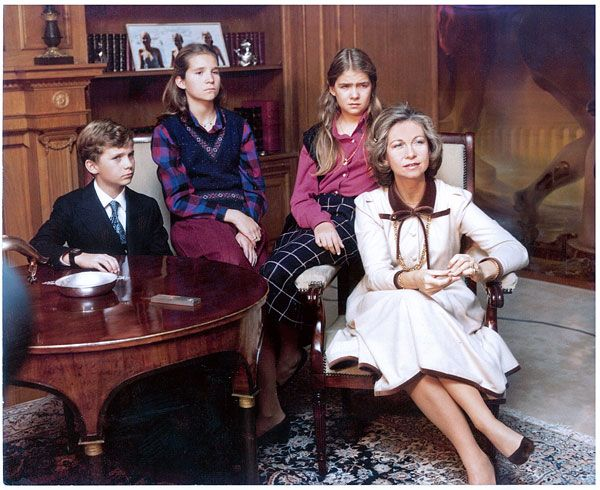 queensofias:  Queen Sofia of Spain and her children Crown Prince Felipe, Infanta Elena and Infanta Cristina in the early 1980s.