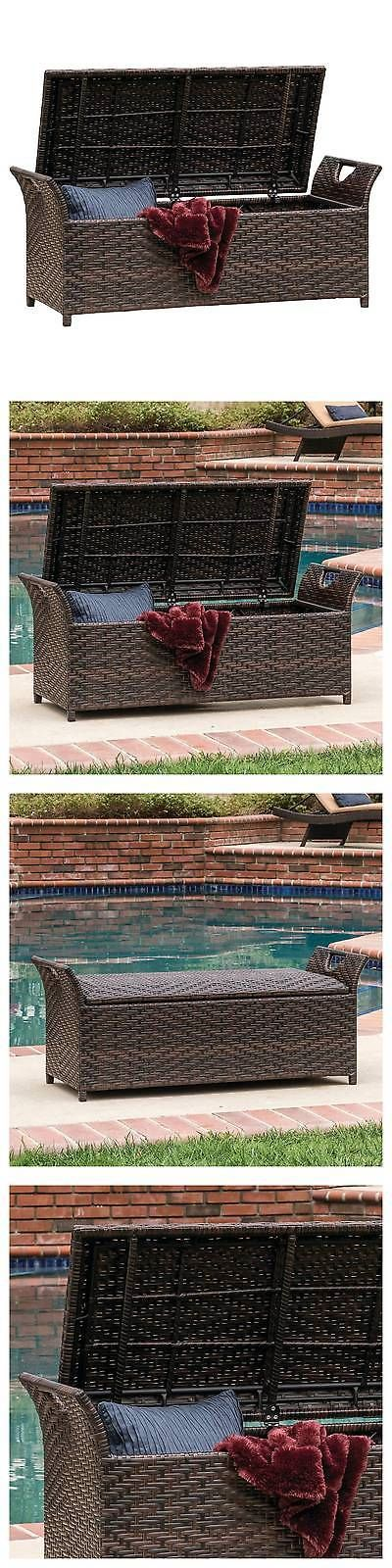 Chairs 79682: Wing Wicker Patio Storage Bench - Multi Brown - Christopher Knight Home -> BUY IT NOW ONLY: $143.99 on eBay!