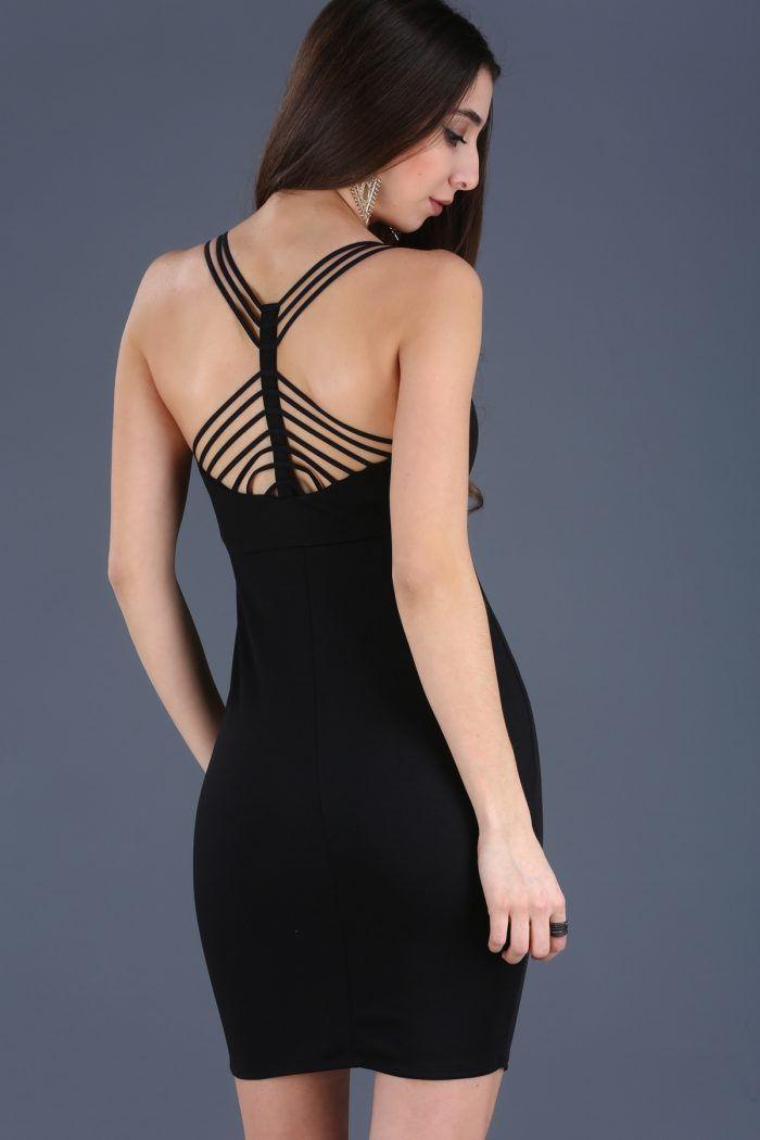 Sırt Dekolte Biye Detay Siyah Elbise 49TL