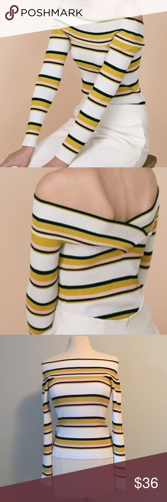 NEW Whistles Top Shirt Off Shoulder Bardot Stripe NEW without tags top by high-end British brand Whistles. The back can be worn in the front and vice versa, making it super versatile! It is stretchy, so it could also fit a 4 or 6. No trades, thanks for looking :) Whistles Tops