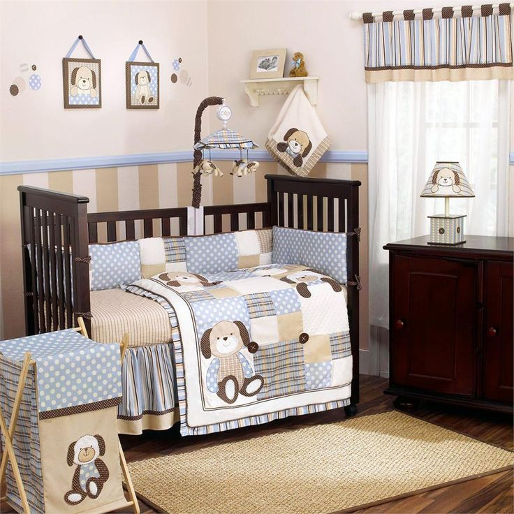 Graham Crackers Baby Bedding By Cocalo Pale Blue And Brown Puppy Dog Bedding