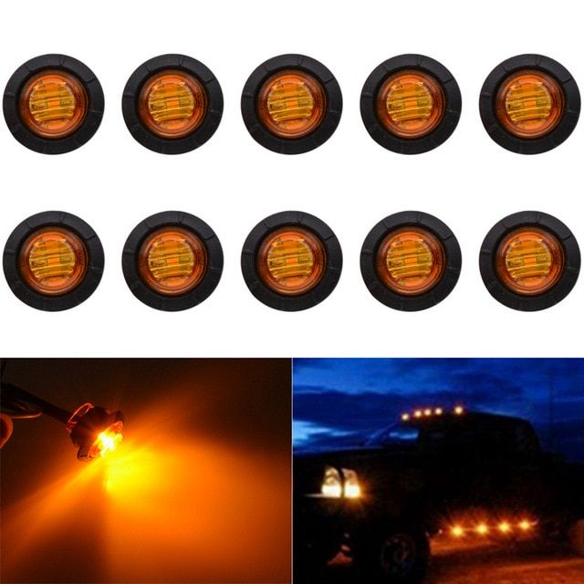 Katur 3 4 Inch Round Led Front Rear Side Marker Indicators Light Waterproof Bullet Clearance Marker Light 12v For Car Truck R Indicator Lights Amber Lights Led