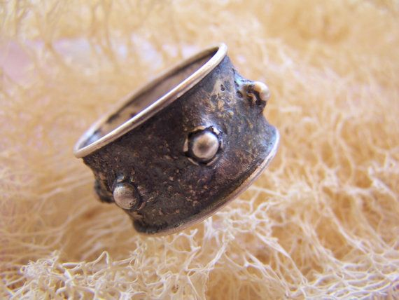 silver handmade medieval ring by archegono on Etsy