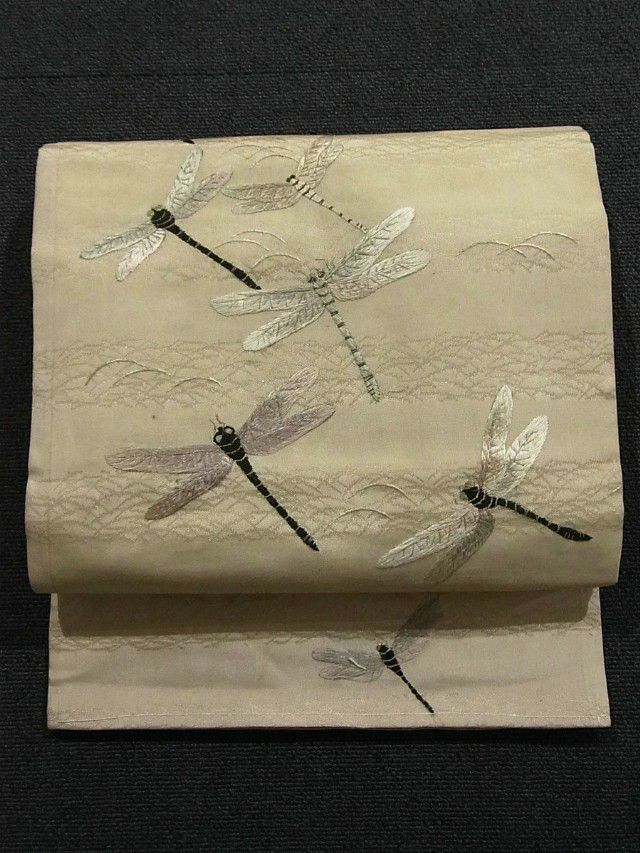 Charming Dragonfly on Shiba Design Embroidery Vintage Nagoya Obi