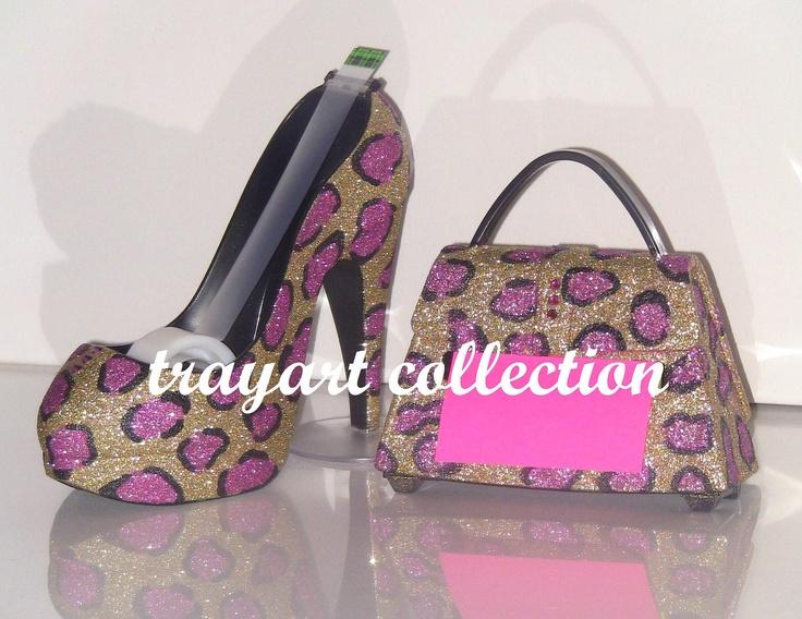 Pink Gold Leopard Sparkle Stiletto Platform High Heel Shoe TAPE Dispenser U0026  Purse Pop Up