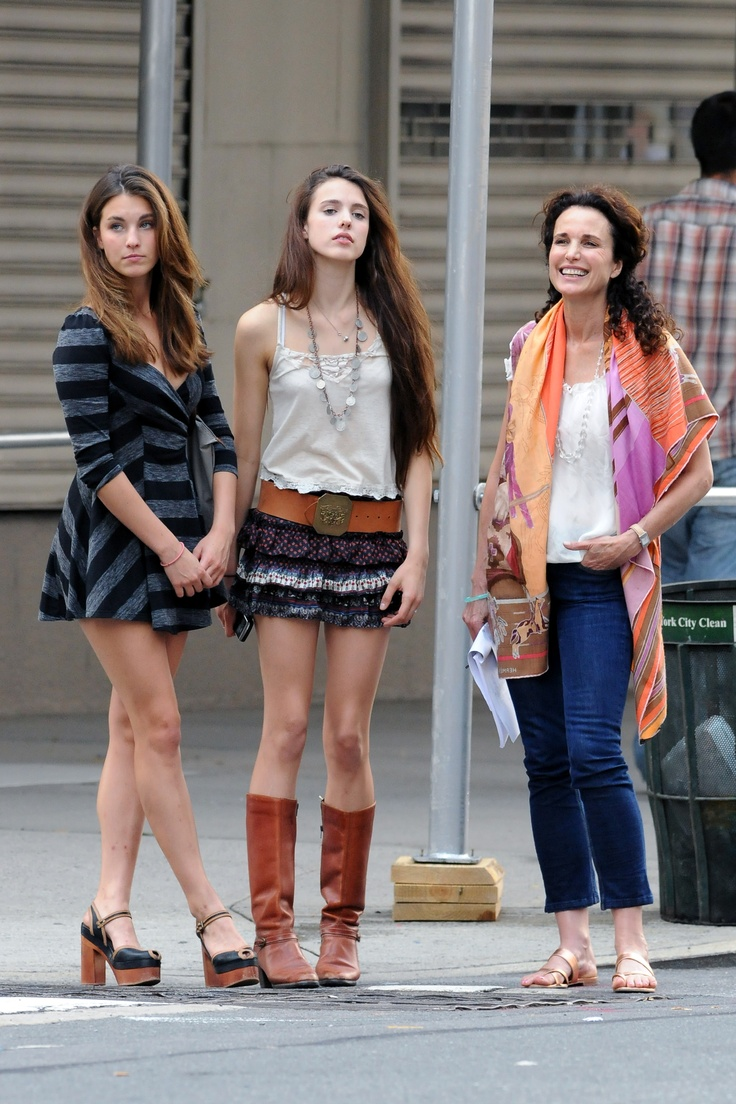 Andie MacDowell and daughters Rainey Qualley and Sarah Margaret Qualley, New York, 2011 (