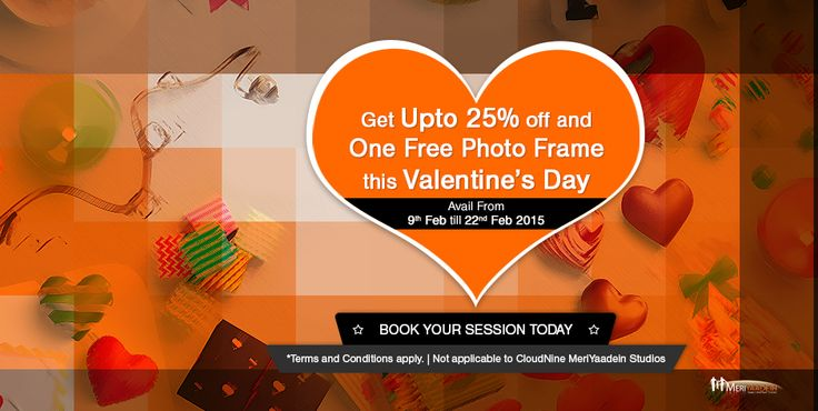 Amazing Valentine's Day Offer only at MeriYaadein Photo Studios in Bangalore or Mumbai Book your Photo Session Today!