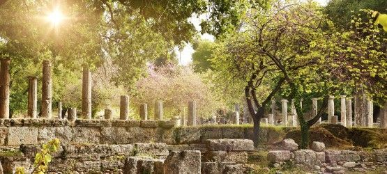 Tour 4 day Ancent greece.Ancient ruins at the archaeological site of Olympia, Greek mainland
