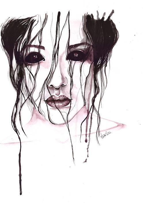 demon watercolor painted ,