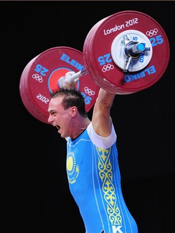 Ilya Ilyin of Kazakhstan on his way to gold in the men's 94kg Weightlifting.