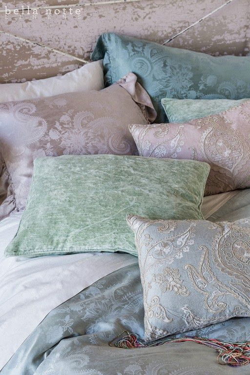 Muted Blue Throw Pillows : 177 best images about Bella Notte Bedding on Pinterest Dust ruffle, Silk and Ruffles