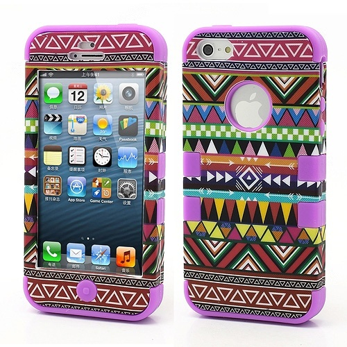 Wholesale 3-Piece Geometric Aztec Tribal Tribe Pattern High Impact Hybrid Case for iPhone 5 - Purple - iPhone 5 Hard Cases