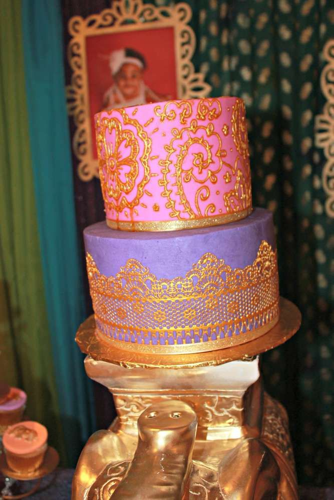 Gold detailed cake from a Bollywood birthday party! See more party ideas at CatchMyParty.com!