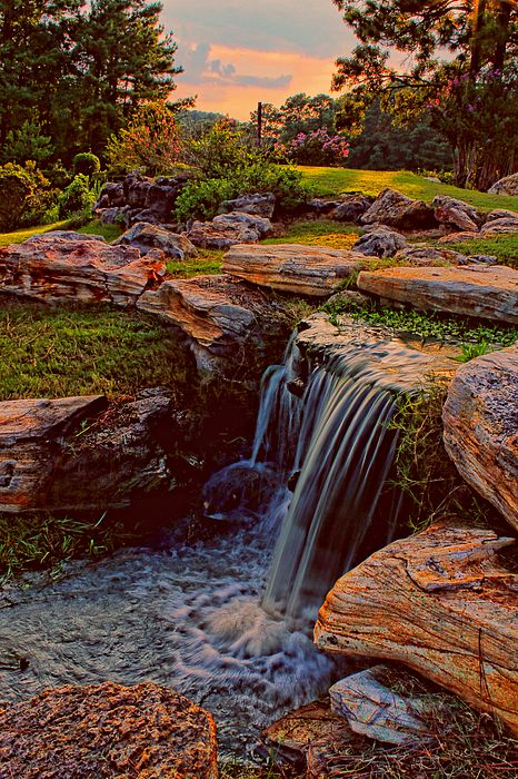 """""""Waterfall Sunset 2"""" by Judy Vincent. Photo taken at Rayburn Country Club near Jasper, Texas, United States of America."""