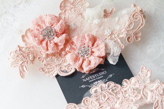 Bridal Pink Lace Garter Set Wedding Flower Garters by NAFEstudio