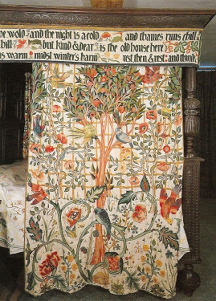 William Morris bed curtain, embroidered by his daughter, May Morris