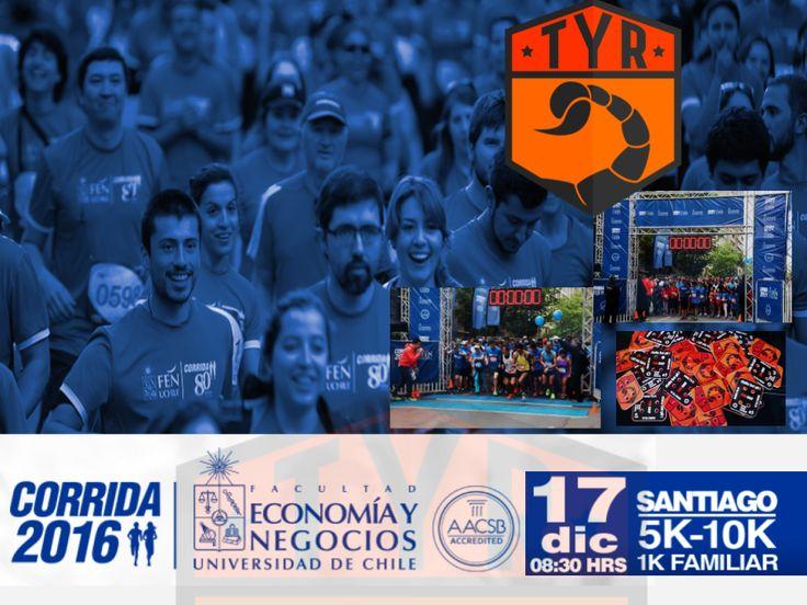 TYR estará presente en la tercera versión de la CORRIDA FEN 2016,Sábado 17 de diciembre 2016, actividad deportiva enmarcada en el aniversario de la Facultad de Economía y Negocios de la Universidad Chile.