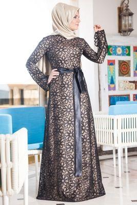 Merve Arslan Siyah Asil Abiye Elbise