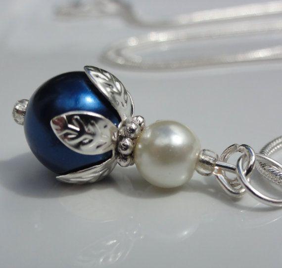 Midnight blue Pearl  Bridesmaid Necklace by StunningGemsJewelry