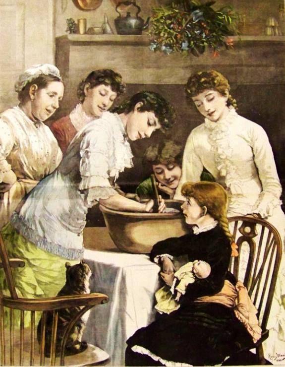 Mexendo o Pudim do Natal (1881) Henry Woods   Na Inglaterra, o pudim é considerado prato do Natal. Durante séculos, os habitantes das ilhas britânicas era o mingau especial de Natal  que ia para a mesa - o pudim flambado de ameixa e o  mingau, cozido, acrescentado de migalhas de pão, passas, e amêndoas, ameixas secas, mel e servido muito quente .  Até o início do século XIII, o nome foi transformado em pudim de ameixa - um dos principais pratos da mesa de Natal. É também chamado de pudim…