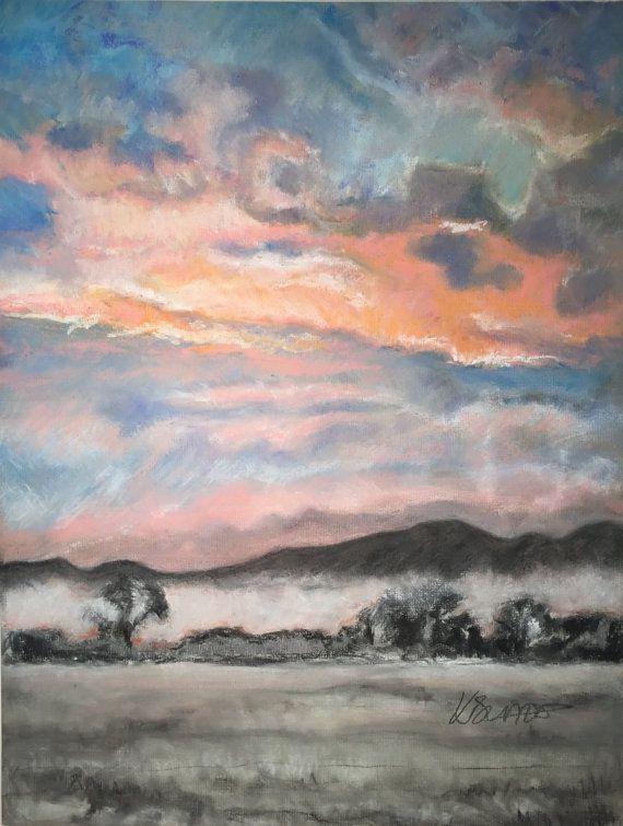 Winter Sunset Over Malvern Hills Fine Pastel Art by FinePastelKB