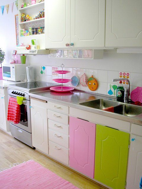 rose et vert et blanc cuisine