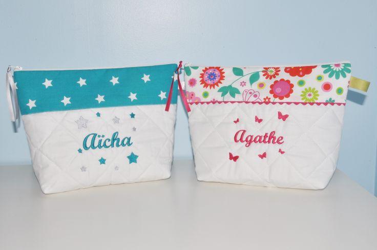 Box cadeau Jumeaux Duo de Trousse de toilette enfant ou bébé ou ado étoiles et papillons personnalisée brodée : Sacs enfants par lbm-creation