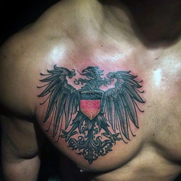 Black Yellow And Red Guys German Eagle Upper Chest Tattoos