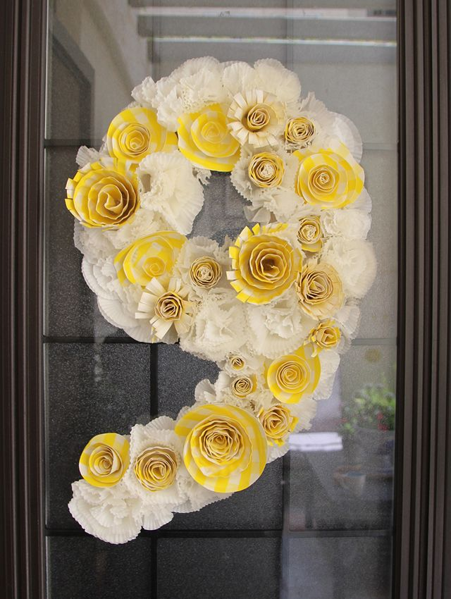 Cute...Birthday # Wreath from Cupcake Liners & Paper Plates. LOVE!